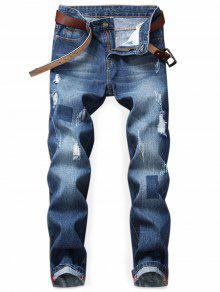 جينز طباعة هندسية  - الدينيم الأزرق الداكن 34