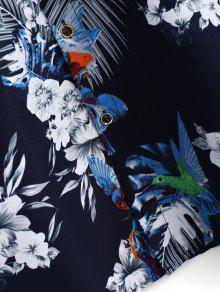 Xs Flor Ave Azul Casual Impresa Camisa SqH8Xw