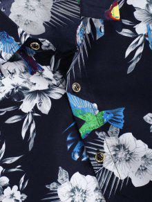 Camisa Impresa Casual Azul Flor Ave Xs qwqrZOS