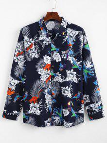 زهرة الطيور مطبوعة القميص عادية - أزرق Xl