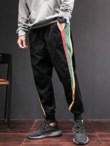 سروال لون كتلة التصحيح - أسود L