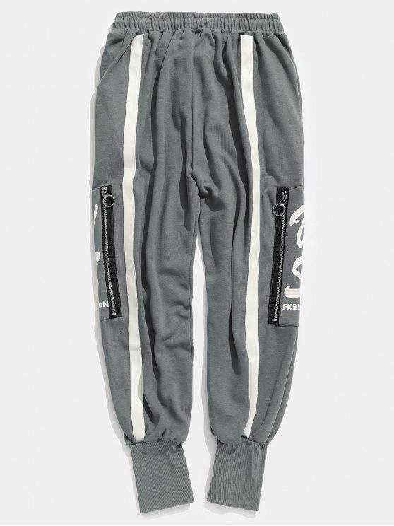 Pantaloni Harem A Strisce Con Tasca E Zip Laterale - Grigio 2XL