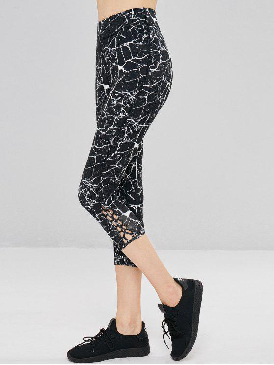 shop Marble Print Criss Cross Sports Leggings - BLACK S