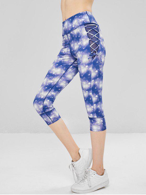 fashion Galaxy Lace Up Cropped Leggings - PURPLE S