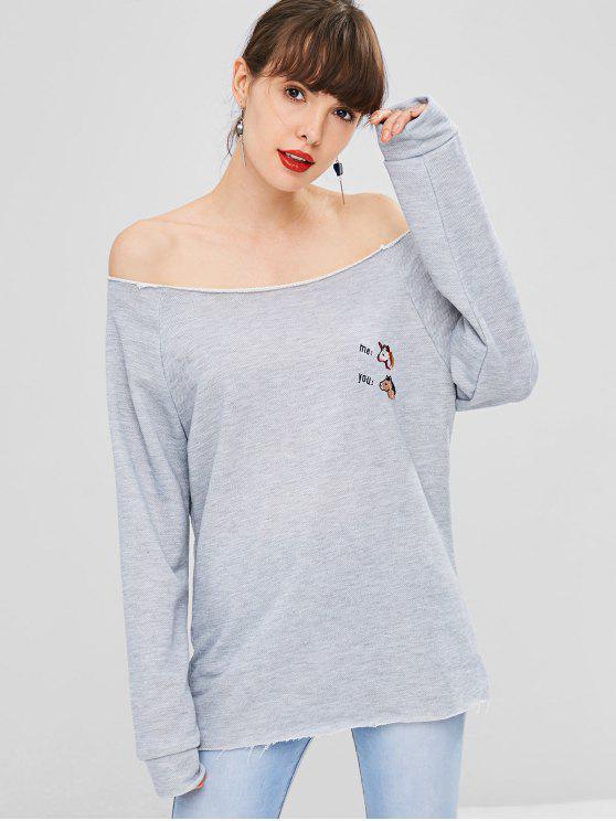 Raglanärmeln Besticktes Sweatshirt - Graue Wolke L