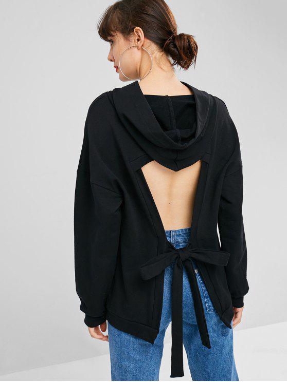 Knoten Ausgeschnittener Rücken Hoodie - Schwarz L