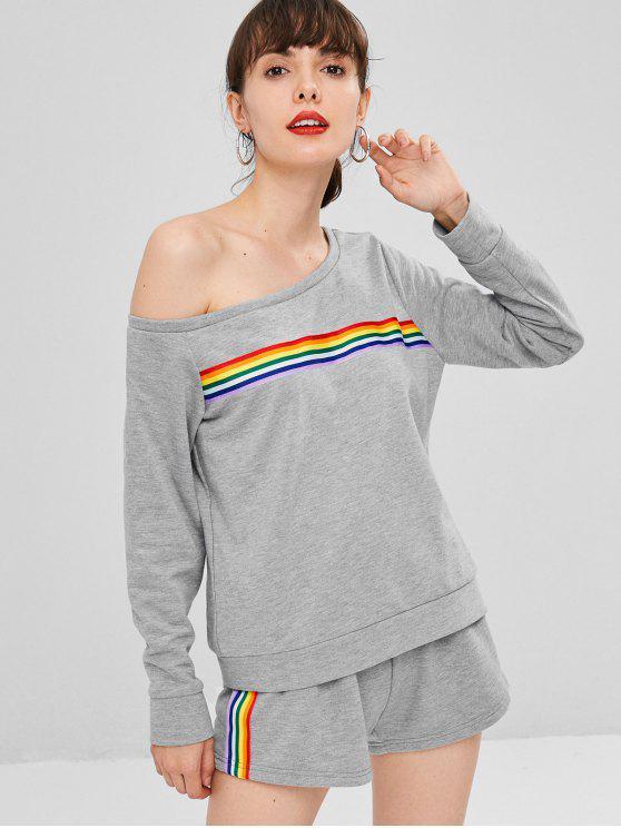 shop One Shoulder Colorful Stripes Top Set - GRAY CLOUD S
