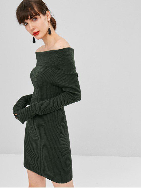 Vestido de jersey con hombros descubiertos - Ejercito Verde L