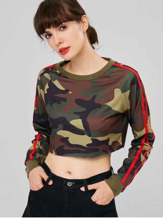 affordable Stripes Patched Camouflage Sweatshirt - ACU CAMOUFLAGE M