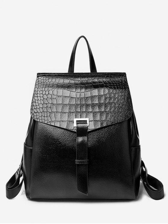 ladies Portable Flap Convertible Faux Leather Backpack - BLACK