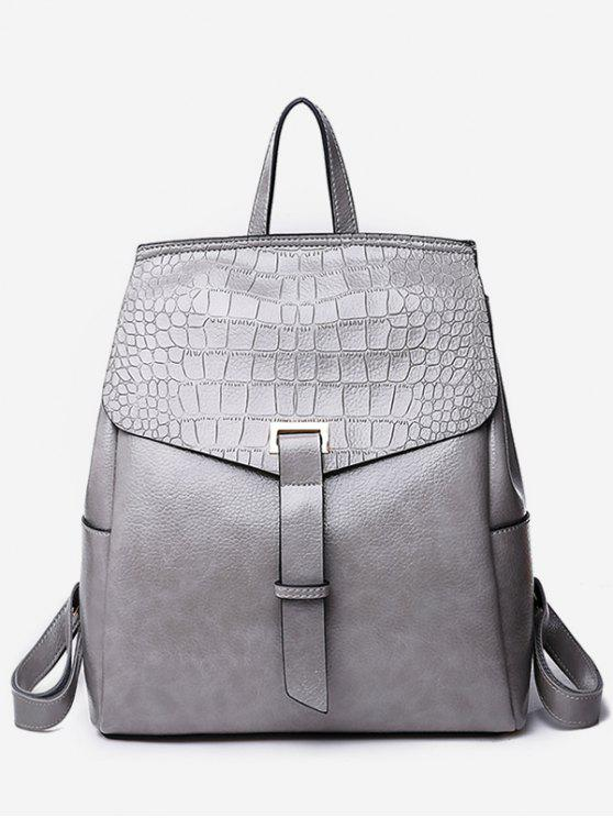 lady Portable Flap Convertible Faux Leather Backpack - GRAY