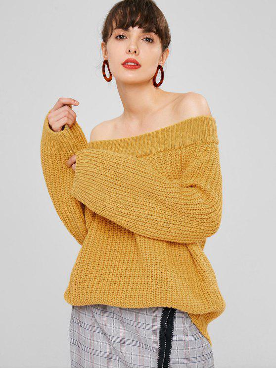outfit Off Shoulder Chunky Knit Sweater - BEE YELLOW ONE SIZE