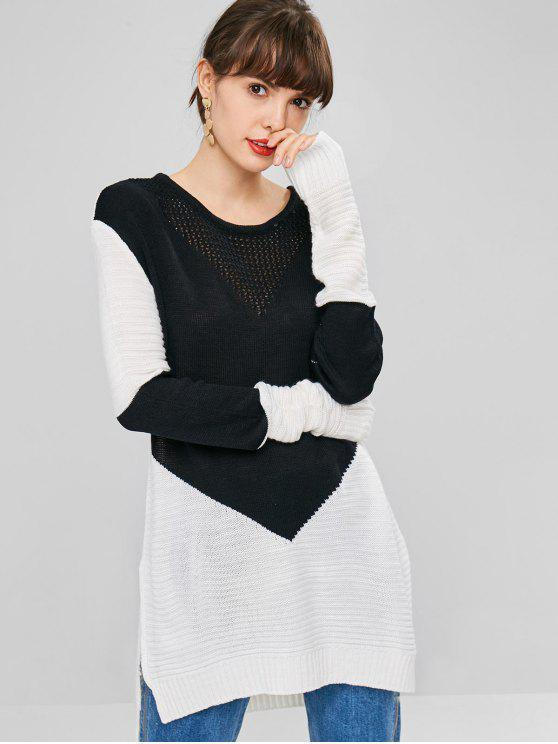 shops Side Slit Two Tone Sweater - BLACK ONE SIZE