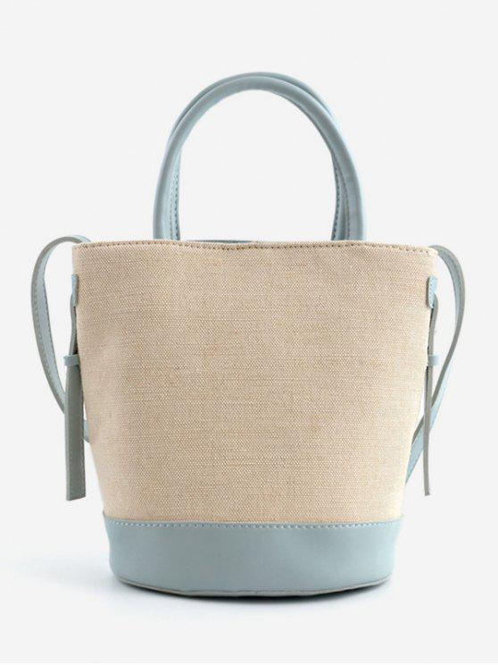 outfit Canvas Contrasting Color Casual Tote Bag - BLUE