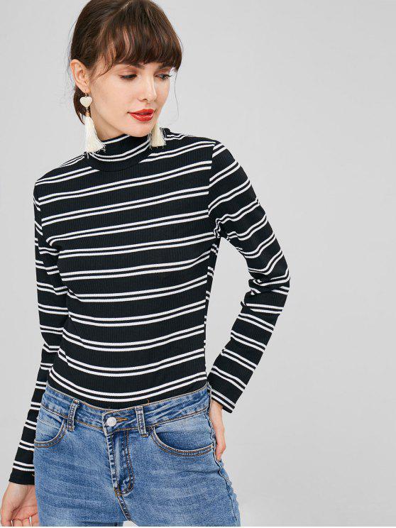 unique Mock Neck Striped Knit Bodysuit - BLACK L