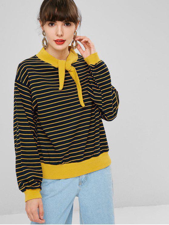 Knoten Gestreiftes Sweatshirt - Dunkles Schieferblau Eine Größe