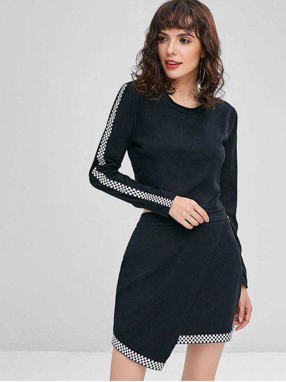 online Checked Top and Overlap Skirt Set - BLACK S