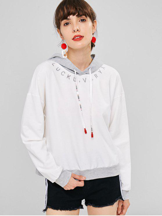 shop Letter Graphic Embroidery Two Tone Hoodie - WHITE S