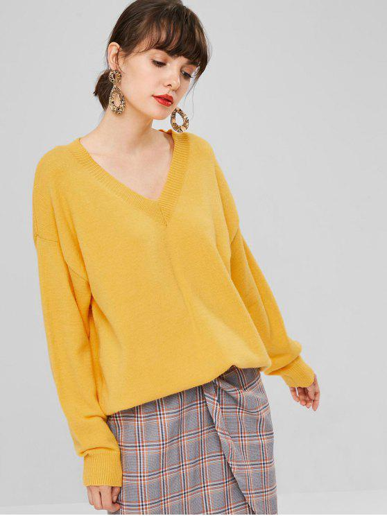 fashion Oversized V Neck Sweater - RUBBER DUCKY YELLOW ONE SIZE
