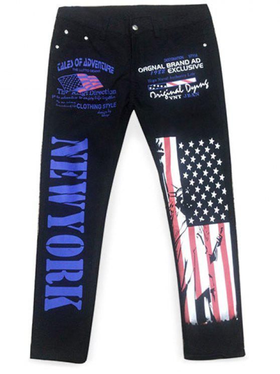 womens Straight Artistic Letter USA Flag Printing Jeans - BLACK 38