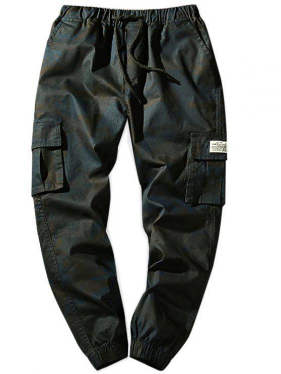Pantalon Cargo de Jogging Camouflage Taille à Cordon avec Poches à Rabat - Gris Foncé XS