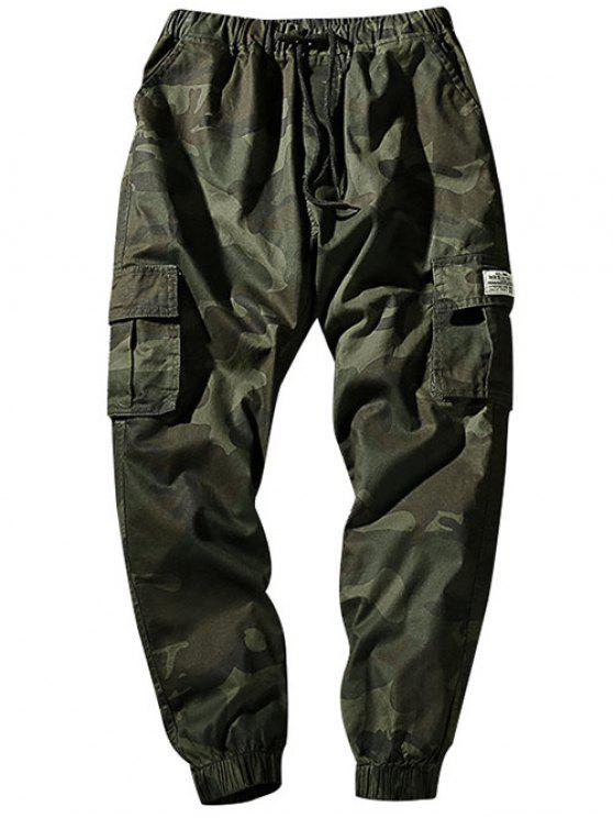 sale Drawstring Waist Flap Pockets Camo Jogger Pants - ARMY GREEN S
