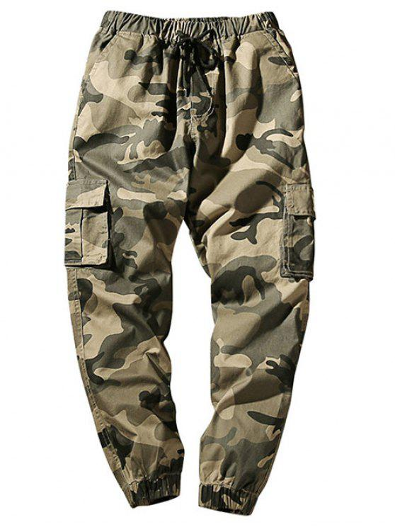Pantalon Cargo de Jogging Camouflage Taille à Cordon avec Poches à Rabat - Kaki Léger XS