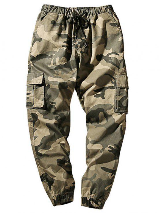 buy Drawstring Waist Flap Pockets Camo Jogger Pants - LIGHT KHAKI S