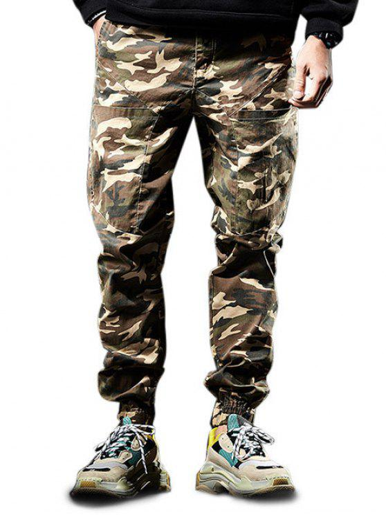 2378684b4ee3cd 26% OFF] 2019 Multi-pocket Zip Fly Camouflage Jogger Pants In LIGHT ...