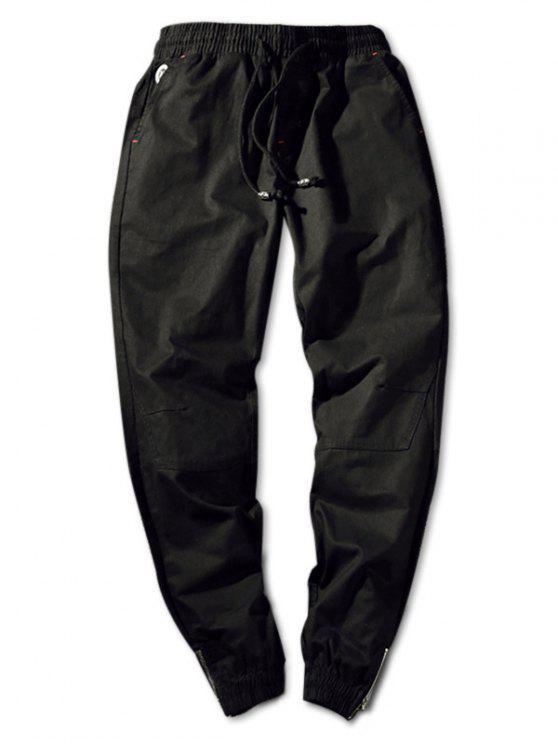Pantaloni Da Jogging A Vita Elastica In Tinta Unita Con Cerniera - Nero S