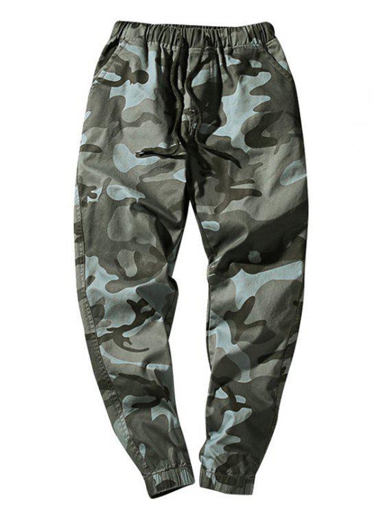 Pantalon Décontracté Camouflage Taille à Cordon - Gris Foncé XS