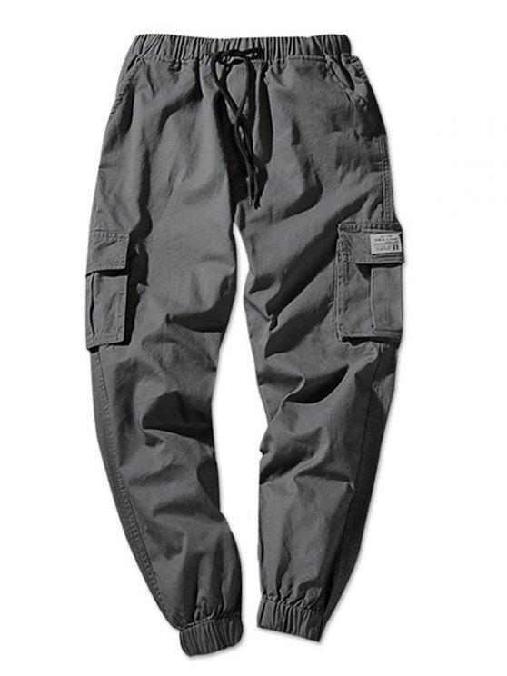 Pantalon Cargo de Jogging Poche à Rabat en Couleur Unie Taille à Cordon - Gris Foncé XS