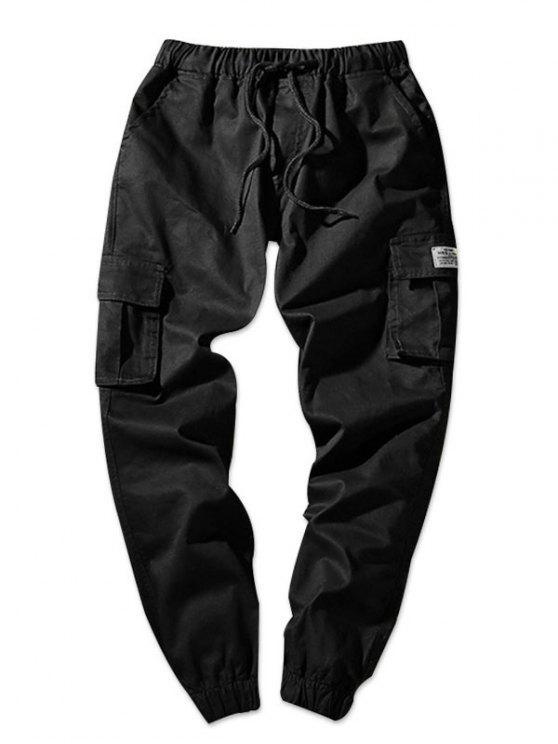 Pantalon de Jogging Poche à Rabat en Couleur Unie Taille à Cordon - Noir S