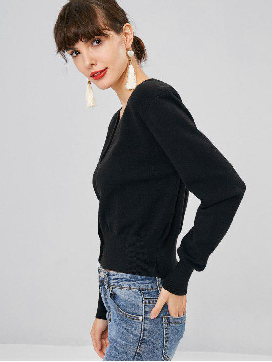 chic Faux Pearl Button Cropped Cardigan - BLACK M