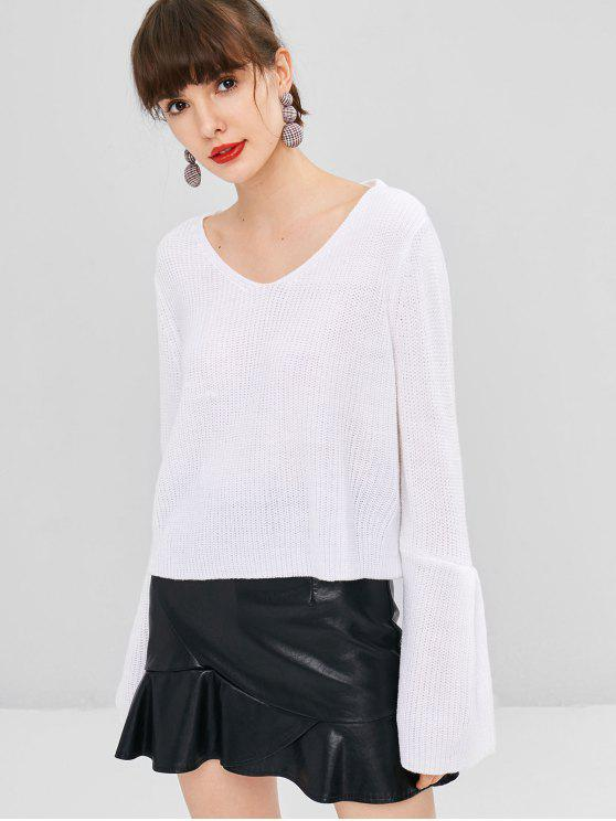 unique Chunky Knit Cropped Sweater - WHITE ONE SIZE