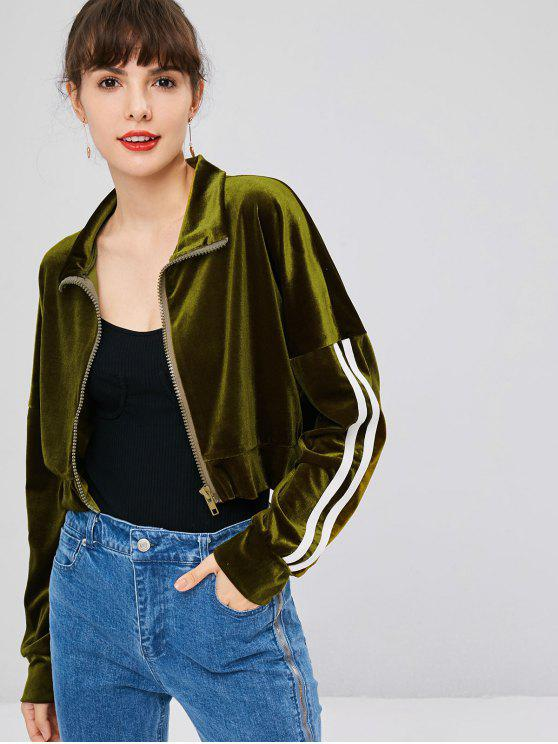 fancy Zip Up Velvet Sweatshirt - ARMY GREEN M