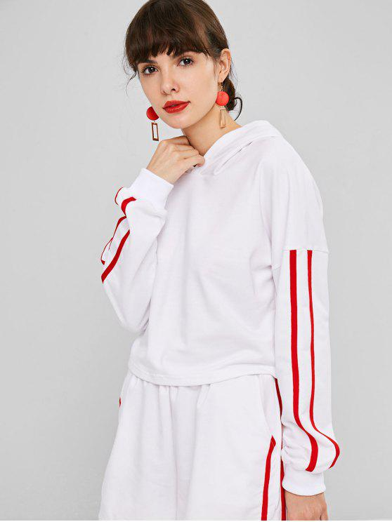 lady Dropped Shoulder Side Stripe Cropped Hoodie - WHITE L
