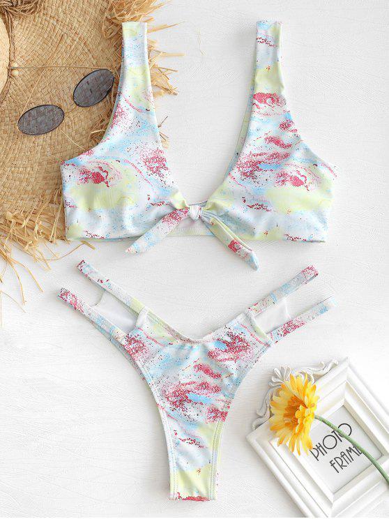 latest Tie Dye Knotted Bikini Set - MULTI M