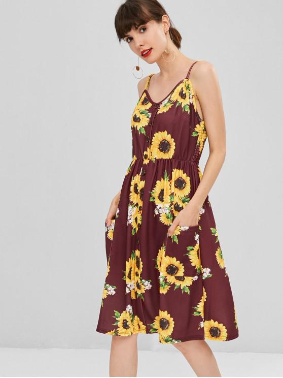 affordable Button Sunflower Print Midi Dress - RED WINE XL
