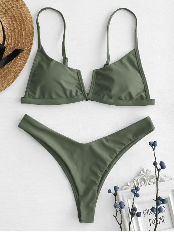 ladies V-Wired High Leg Bikini Set - ARMY GREEN S