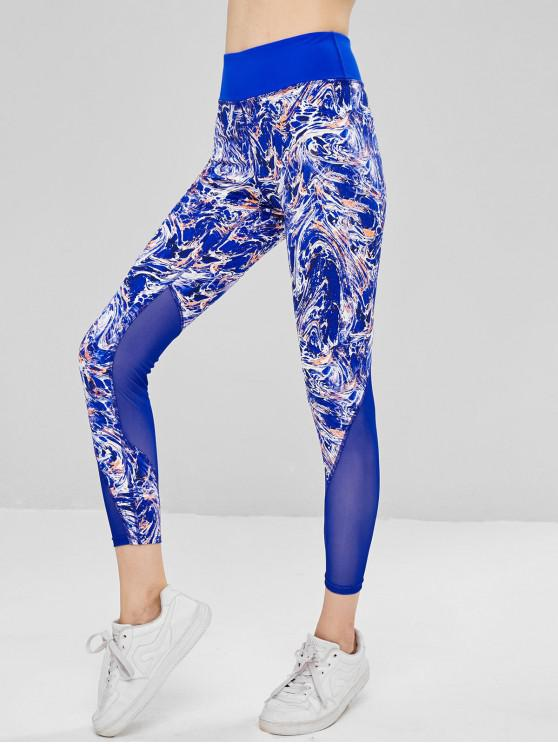best Mesh Insert Abstract Print Workout Leggings - BLUE S