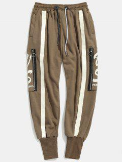 Side Zipper Pocket Stripes Harem Pants - Coffee L