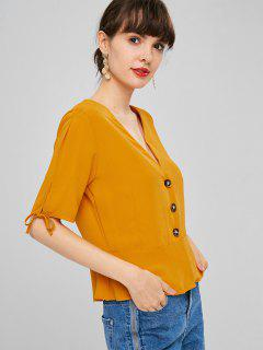 V Neck Button Up Peplum Blouse - Orange M