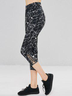Marble Print Criss Cross Sports Leggings - Black M