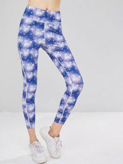 Galaxy High Waisted Sports Leggings - Purple L