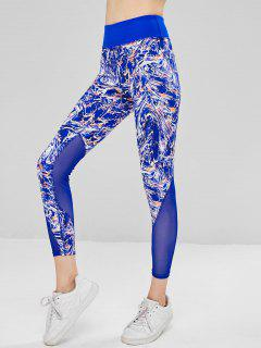 Mesh Insert Abstract Print Workout Leggings - Blue L