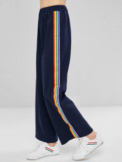 Colorful Stripes Wide Leg Pants - Midnight Blue L