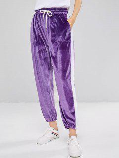 Pantalones Jogger De Terciopelo Contrastantes - Púrpura L
