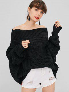 Chunky Knit Loose Fit Sweater - Black