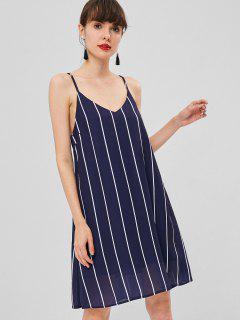 Striped Midi Shift Slip Dress - Deep Blue M